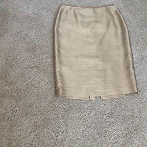 Gold silk raw silk skirt